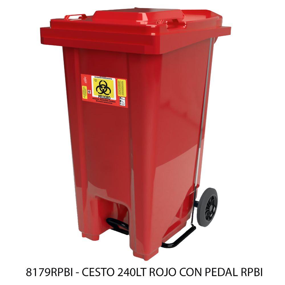 Contenedor de basura de 240 litros color rojo con pedal modelo 8179RPBI Sablón