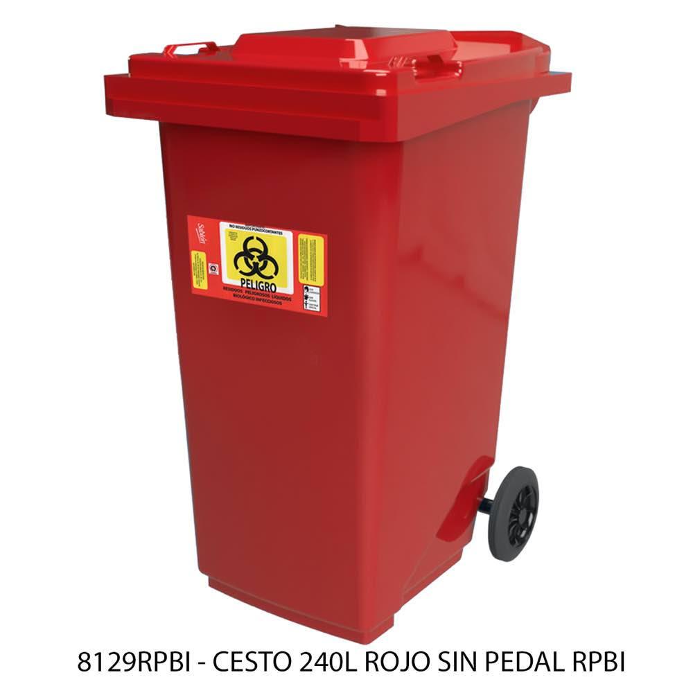 Contenedor de basura de 240 litros color rojo sin pedal modelo 8129RPBI Sablón