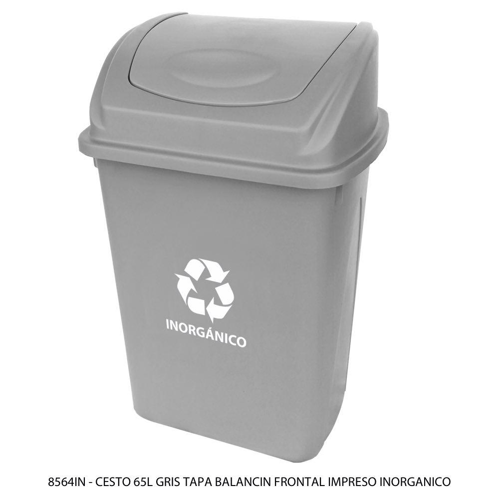 Bote para basura de 65 litros con tapa balancín frontal con impresión para inorgánico color gris modelo 8564IN Sablón