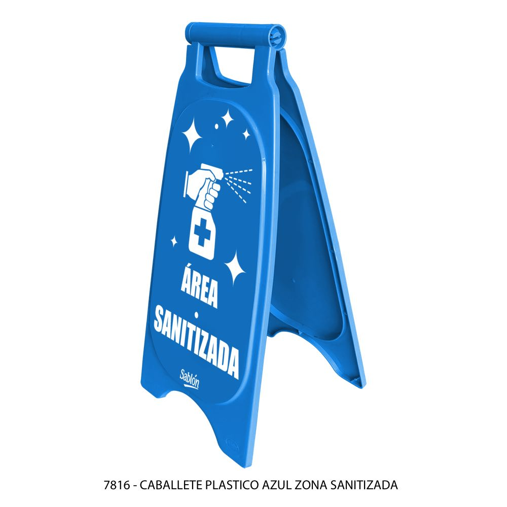 Caballete de plástico azul indicando área sanitizada modelo 7816 Sablón