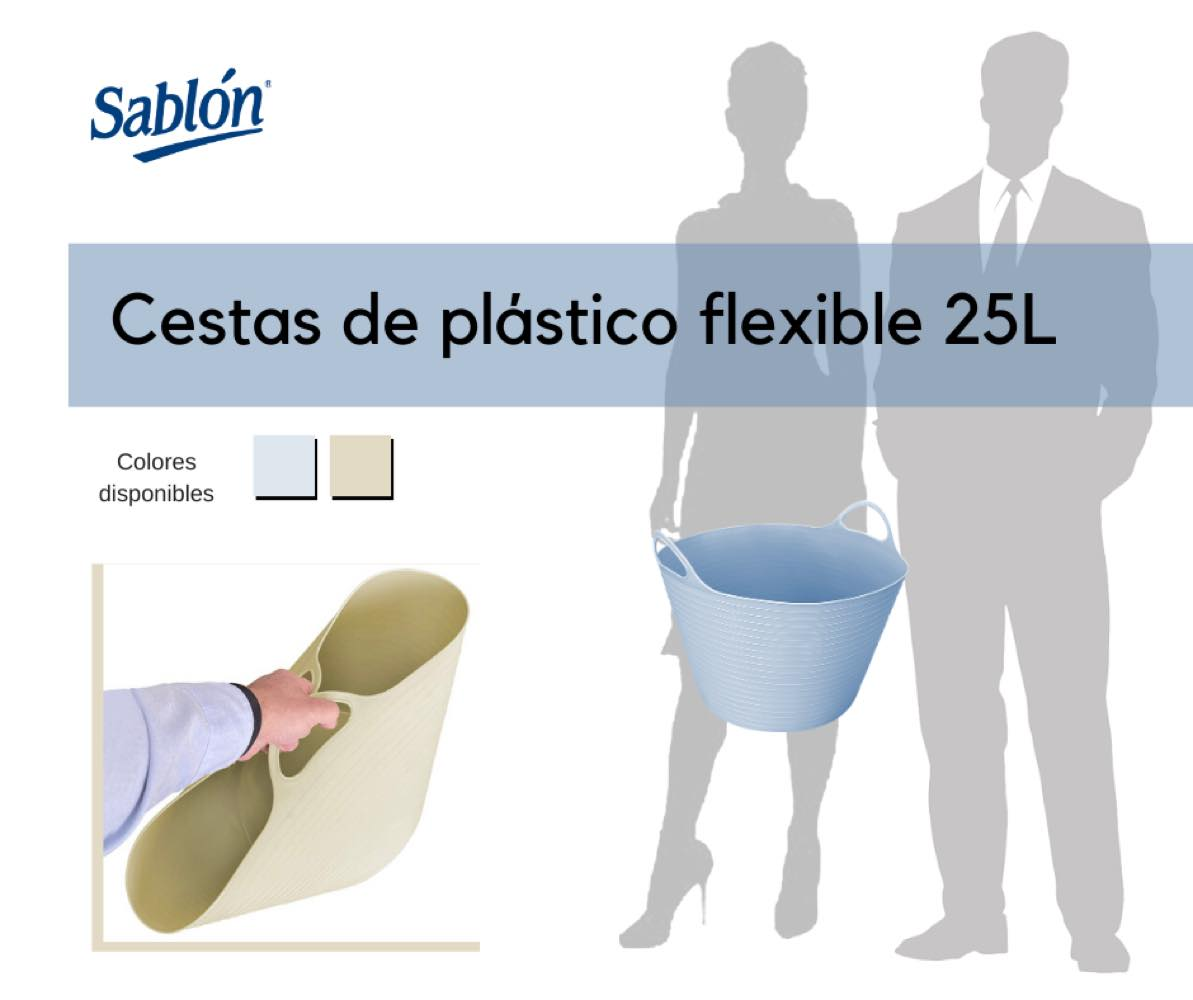 Cestas de 25 litros de plástico flexible Marca Sablón