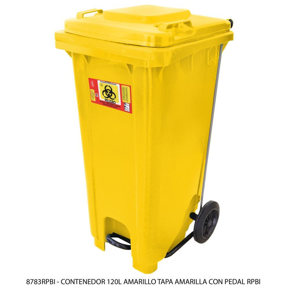 Contenedor de basura de 120 litros color amarillo con tapa de color amarillo con pedal y con impreso RPBI Modelo 8783RPBI - Marca Sablón