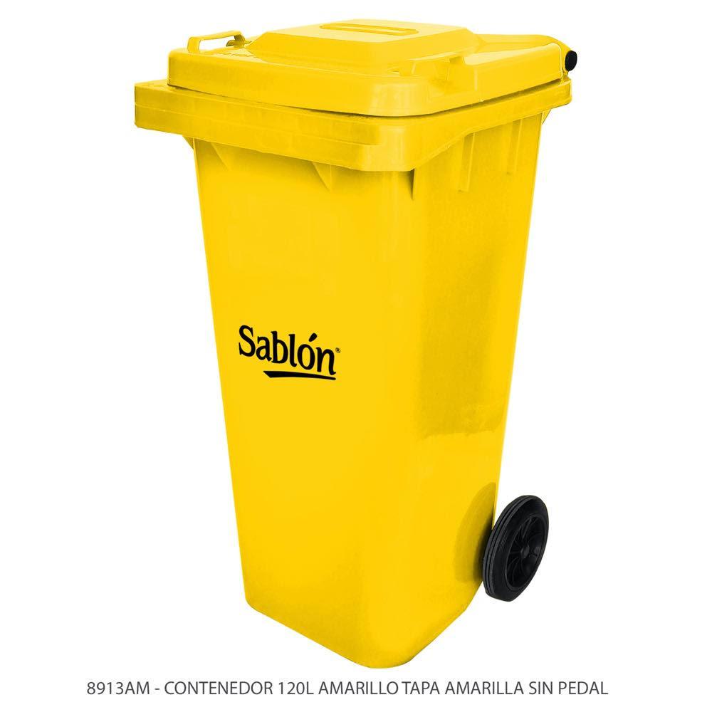 Contenedor de basura de 120 litros color amarillo con tapa de color amarillo sin pedal modelo 8913AM Marca Sablón