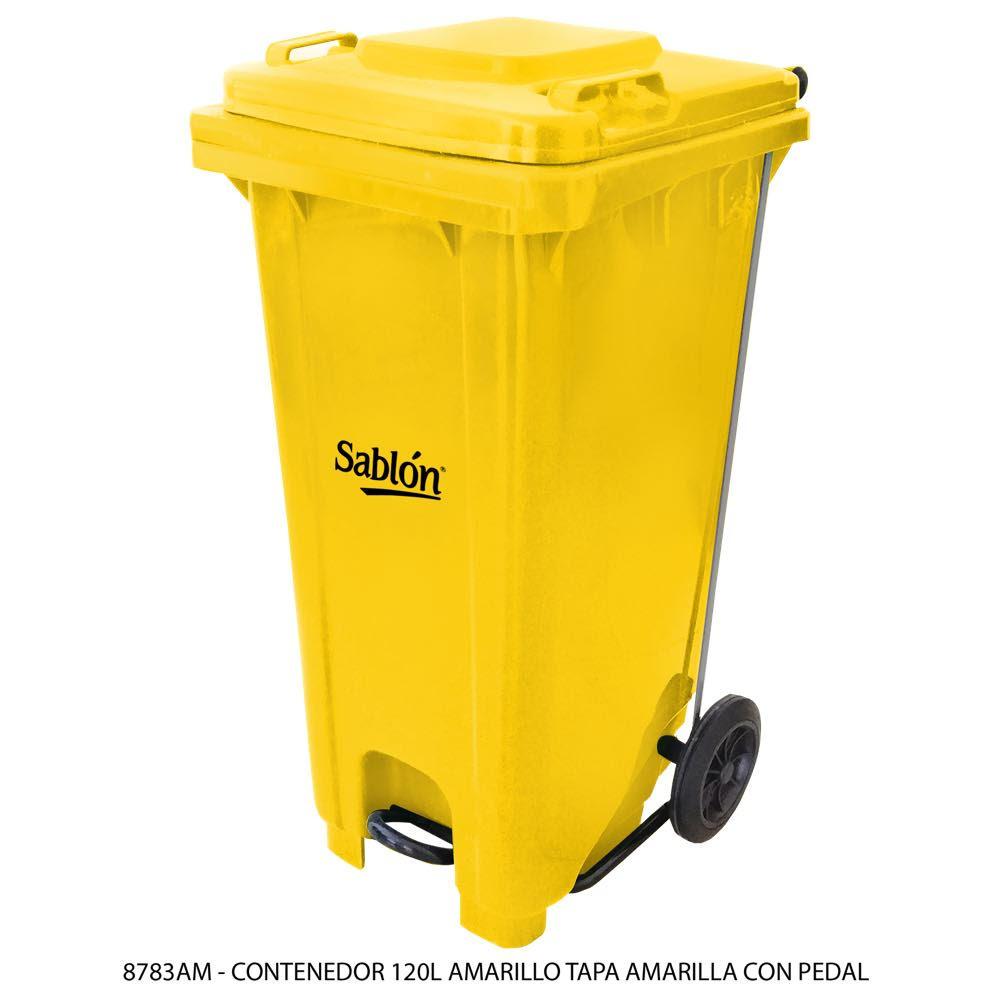 Contenedor de basura de 120 litros color amarillo con tapa de color amarillo y con pedal Modelo 8783AM - Marca Sablón