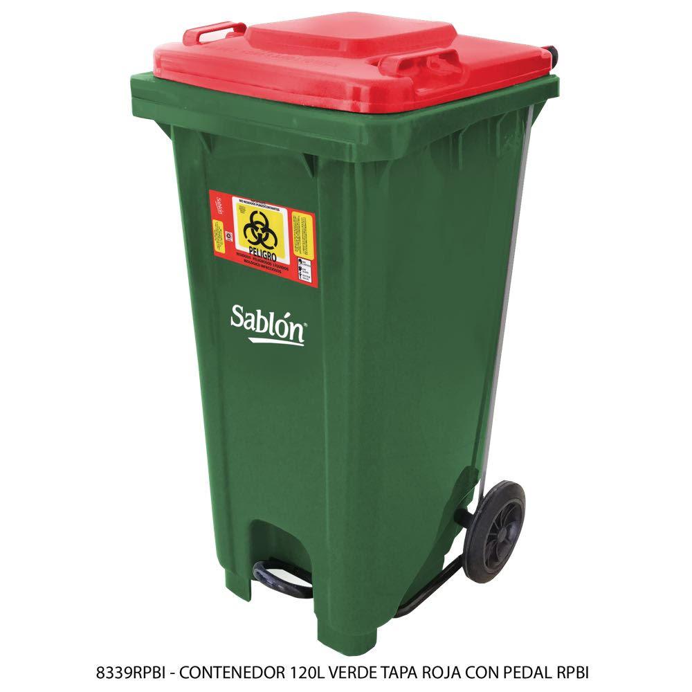 Contenedor de basura de 120 litros color amarillo con tapa de color roja con pedal y con impreso RPBI Modelo 8339RPBI - Marca Sablón