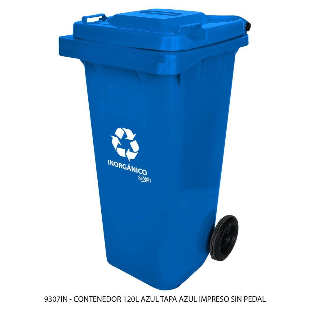 Contenedor de basura de 120 litros color azul con tapa de color azul con impreso inorgánico sin pedal modelo 9307IN Marca Sablón