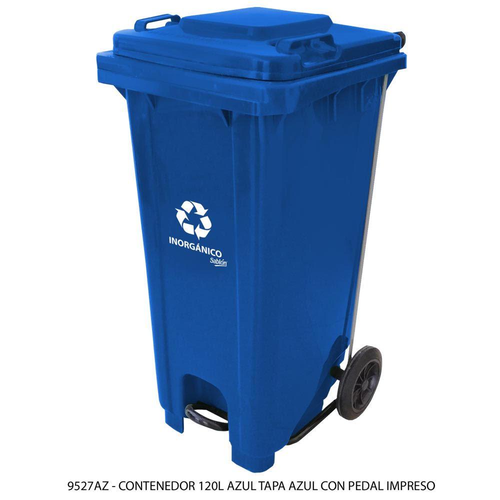 Contenedor de basura de 120 litros color azul con tapa de color azul con pedal y con impreso inorgánico Modelo 9527IN - Marca Sablón