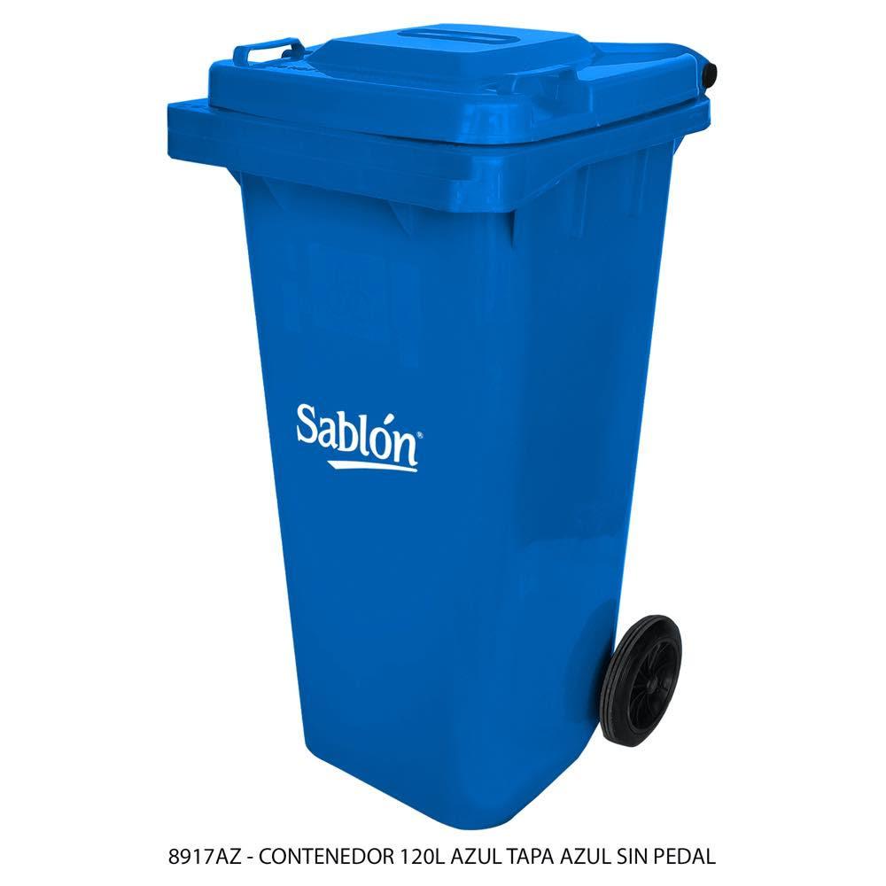 Contenedor de basura de 120 litros color azul con tapa de color azul sin pedal modelo 8917AZ Marca Sablón