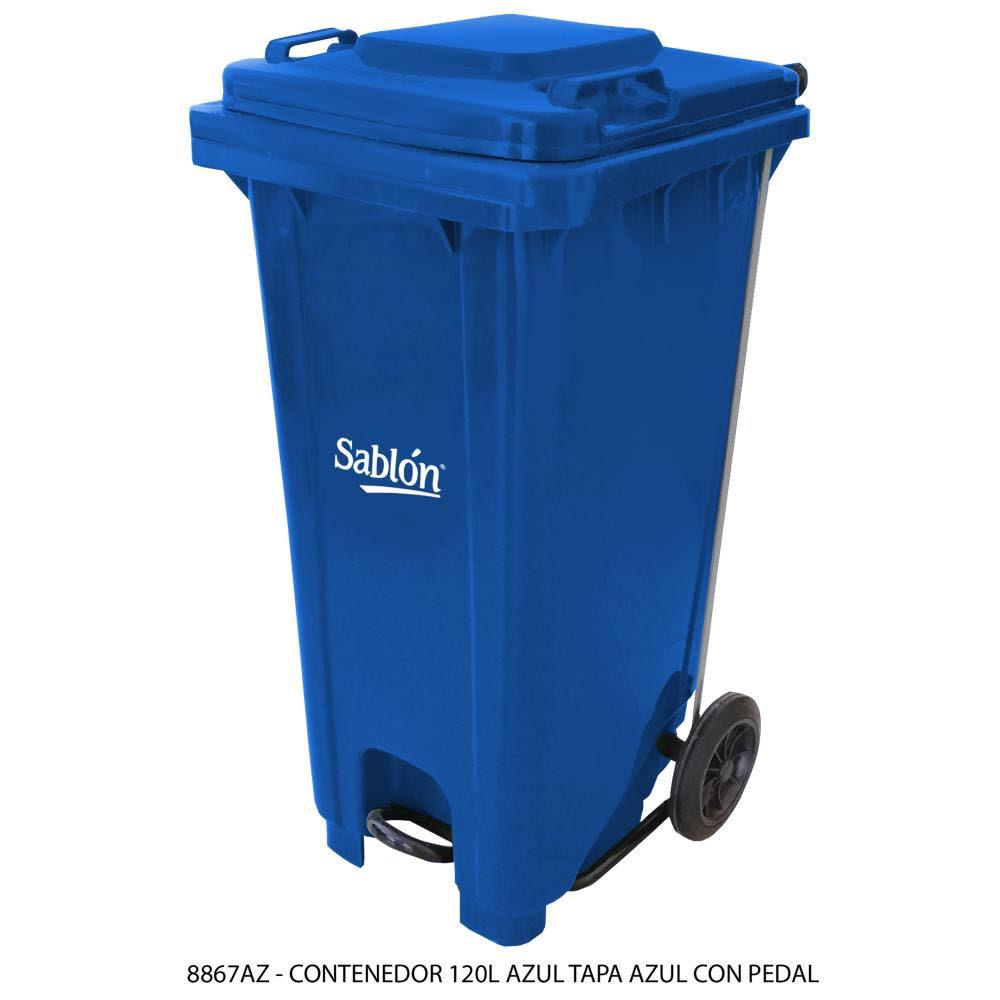 Contenedor de basura de 120 litros color azul con tapa de color azul y con pedal Modelo 8867AZ - Marca Sablón