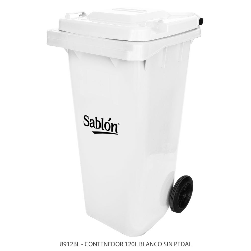Contenedor de basura de 120 litros color blanco con tapa de color blanco sin pedal modelo 8912BL Marca Sablón