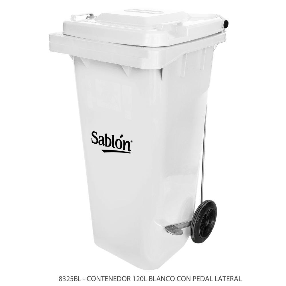 Contenedor de basura de 120 litros color blanco con tapa de color blanco y con pedal Modelo 8325BL Marca Sablón