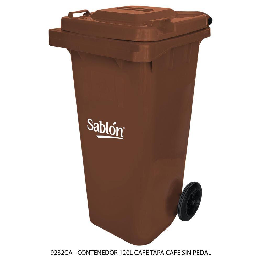 Contenedor de basura de 120 litros color café con tapa de color café sin pedal modelo 9232CA Marca Sablón