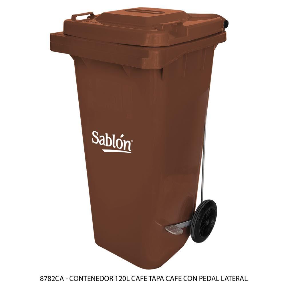 Contenedor de basura de 120 litros color cafe con tapa de color café y con pedal Modelo 8782CA - Marca Sablón
