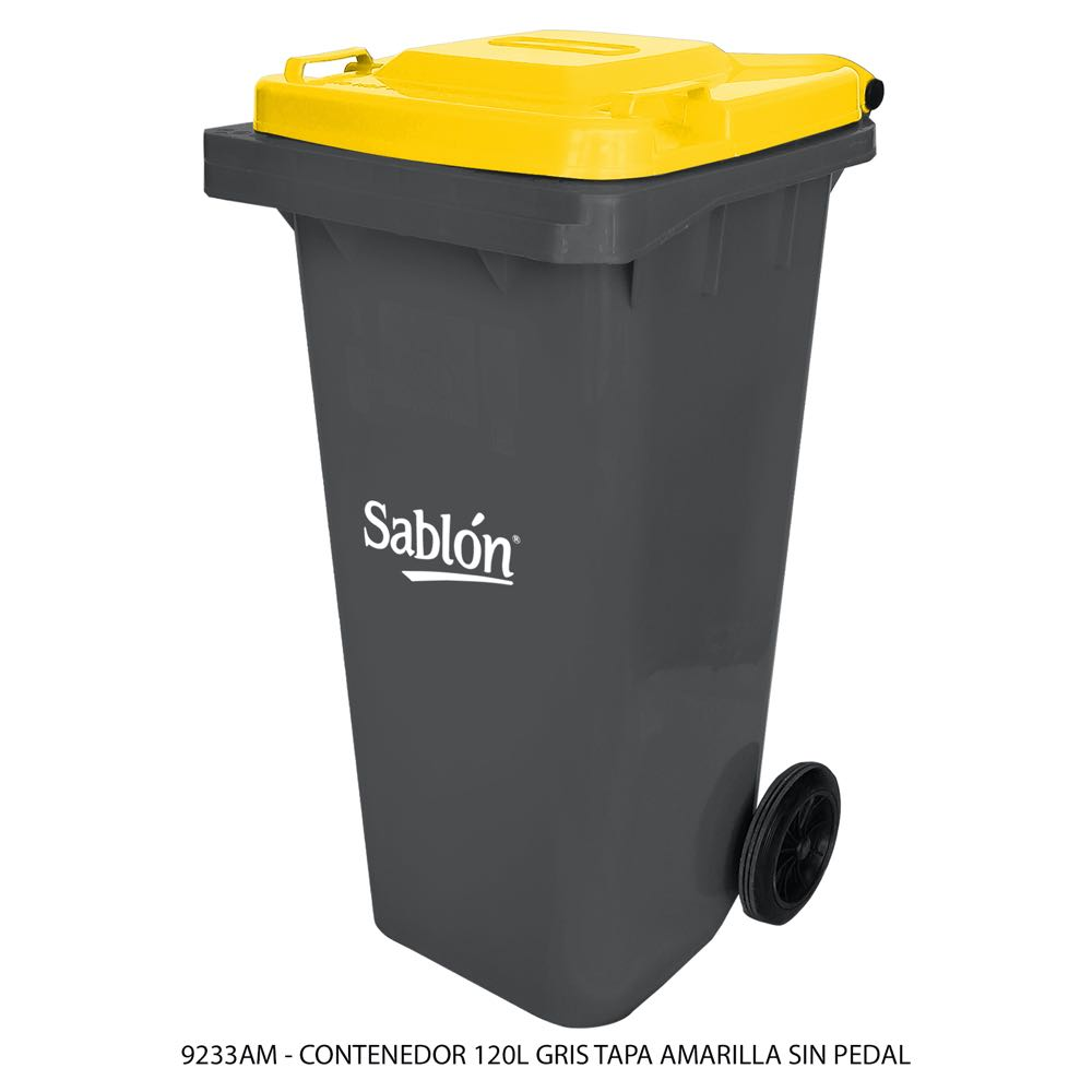 Contenedor de basura de 120 litros color gris con tapa de color amarillo sin pedal modelo 9233AM Marca Sablón
