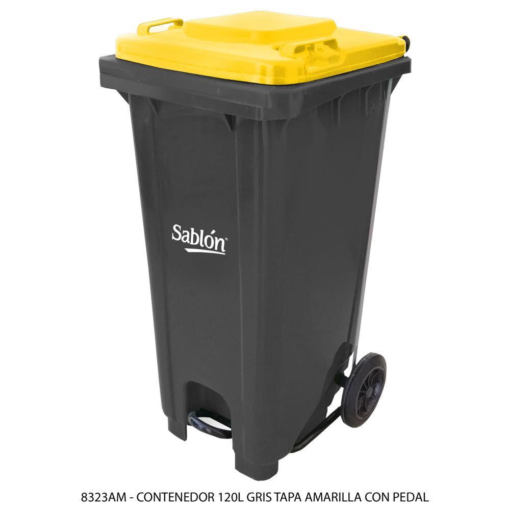 Contenedor de basura de 120 litros color gris con tapa de color amarillo y con pedal Modelo 8323AM - Marca Sablón