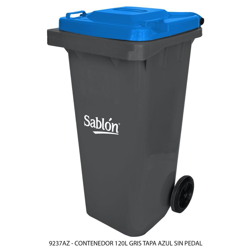 Contenedor de basura de 120 litros color gris con tapa de color azul sin pedal modelo 9237AZ Marca Sablón
