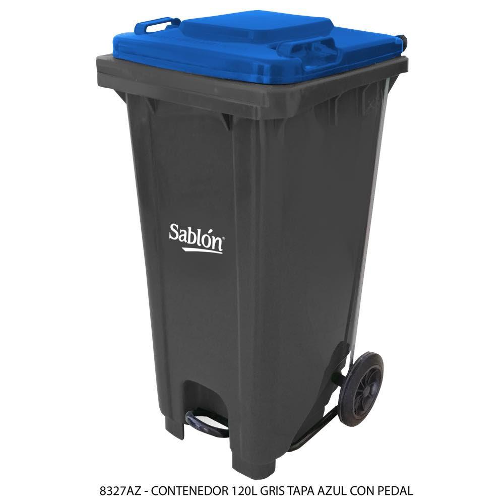 Contenedor de basura de 120 litros color gris con tapa de color azul y con pedal Modelo 8327AZ - Marca Sablón