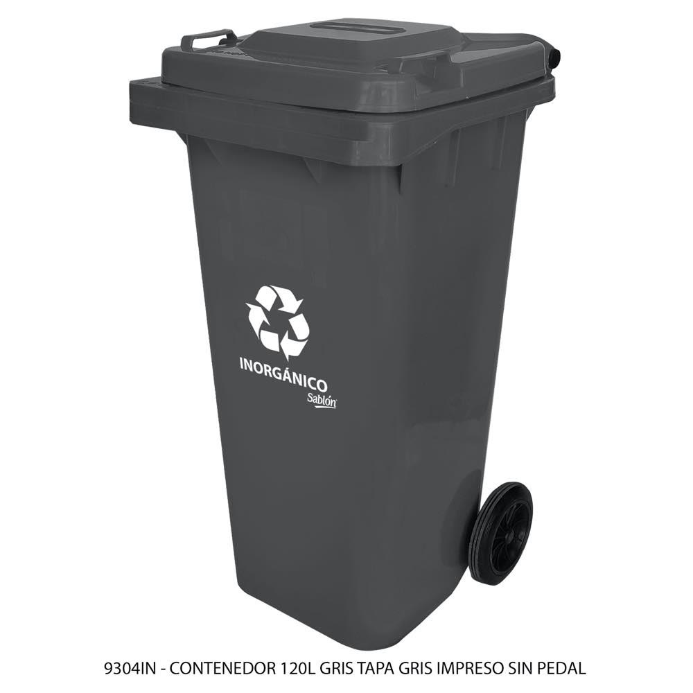 Contenedor de basura de 120 litros color gris con tapa de color gris con impreso inorgánico sin pedal modelo 9304IN Marca Sablón