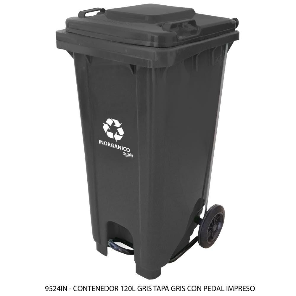 Contenedor de basura de 120 litros color gris con tapa de color gris con pedal y con impreso inorgánico Modelo 9524IN - Marca Sablón