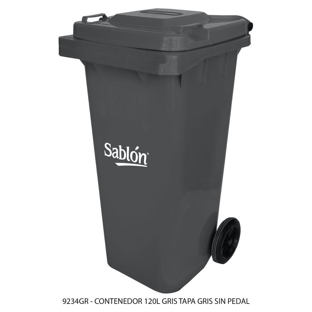 Contenedor de basura de 120 litros color gris con tapa de color gris sin pedal modelo 9234GR Marca Sablón