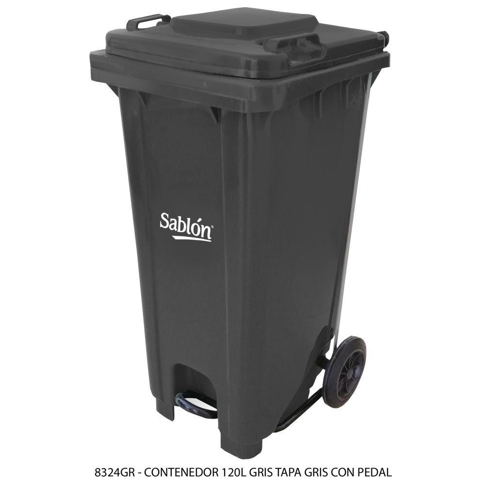 Contenedor de basura de 120 litros color gris con tapa de color gris y con pedal Modelo 8324GR - Marca Sablón