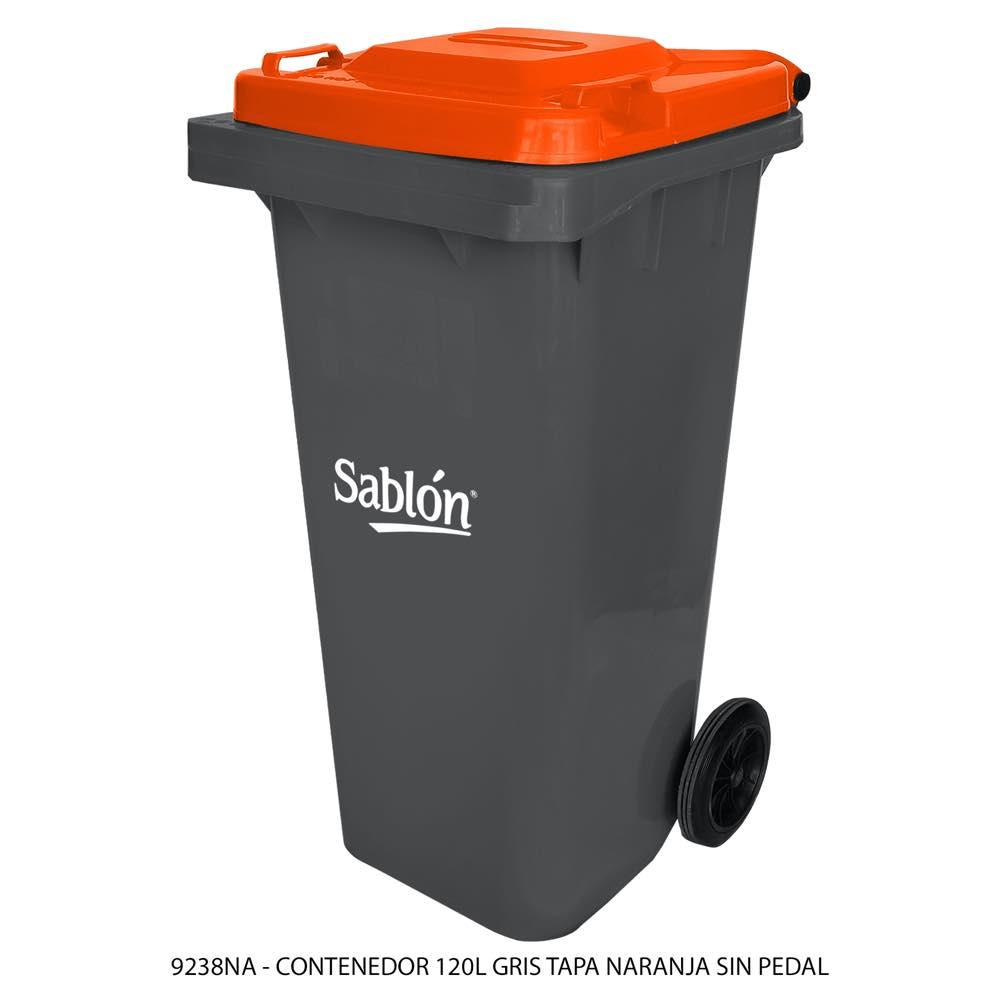 Contenedor de basura de 120 litros color gris con tapa de color naranja sin pedal modelo 9238NA Marca Sablón