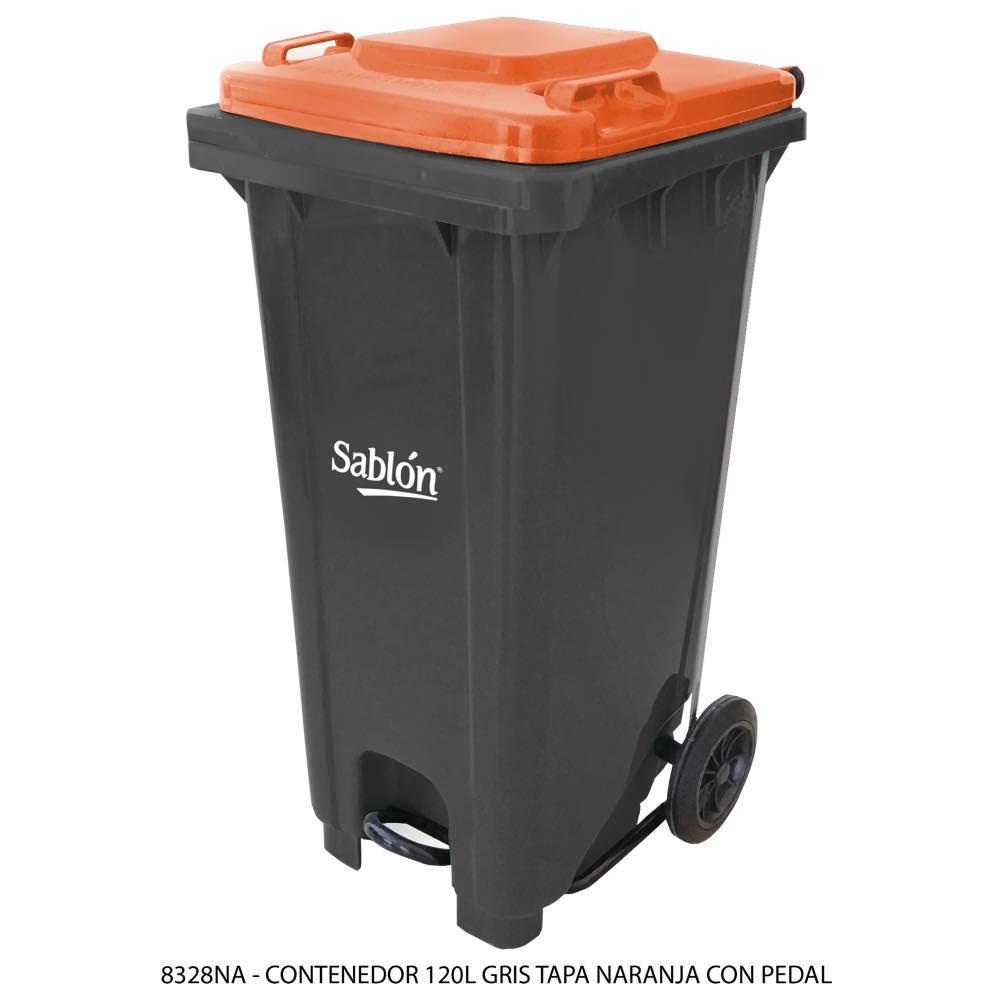 Contenedor de basura de 120 litros color gris con tapa de color naranja y con pedal Modelo 8328NA - Marca Sablón
