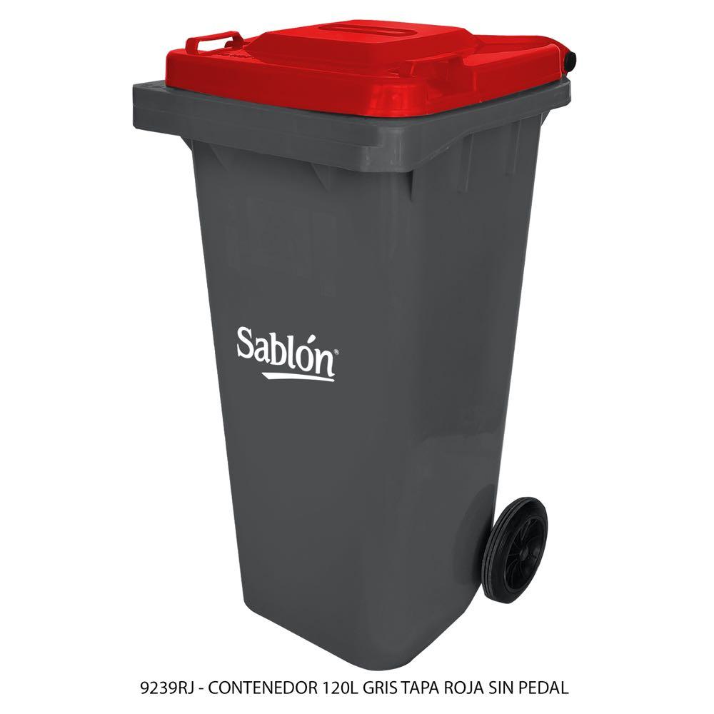 Contenedor de basura de 120 litros color gris con tapa de color rojo sin pedal modelo 9239RJ Marca Sablón