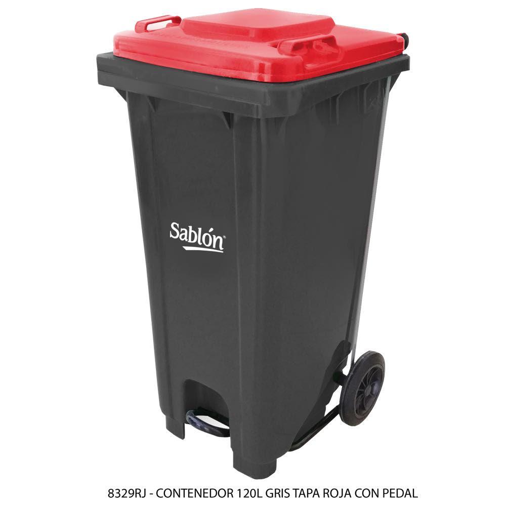 Contenedor de basura de 120 litros color gris con tapa de color rojo y con pedal Modelo 8329RJ - Marca Sablón