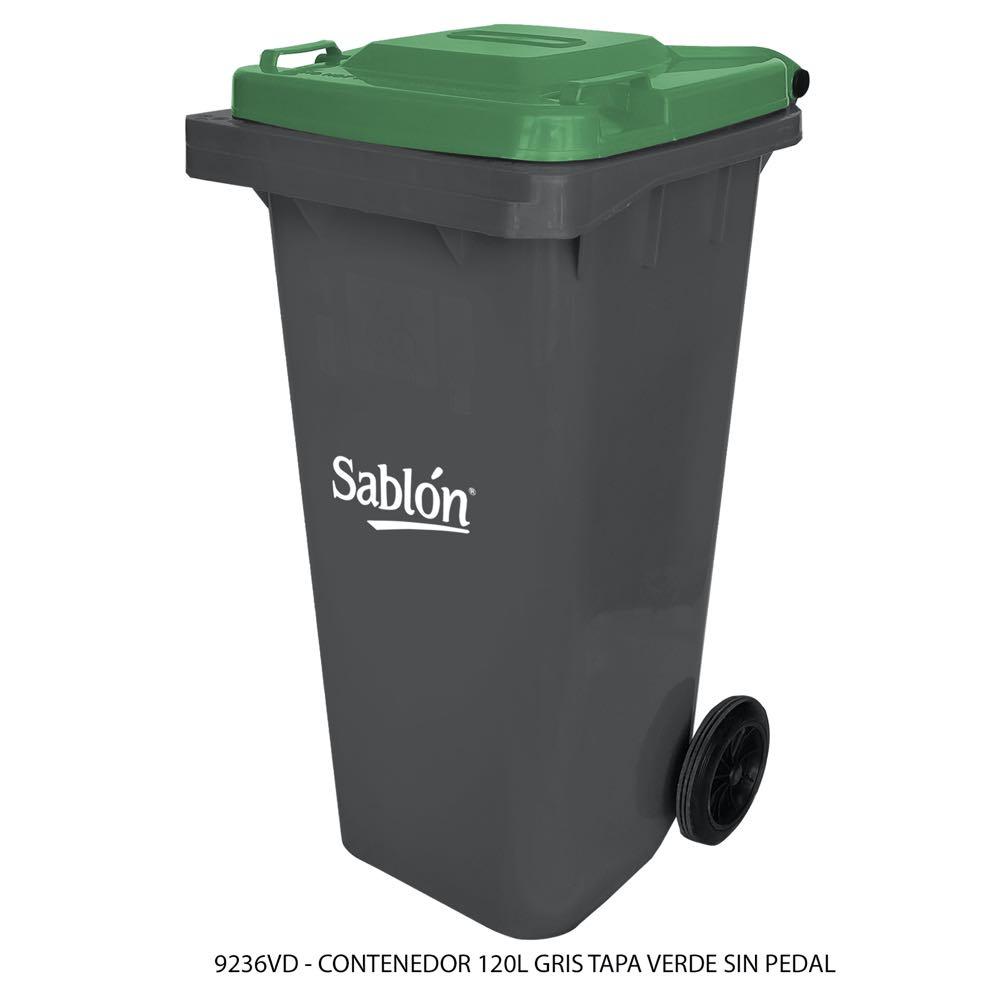 Contenedor de basura de 120 litros color gris con tapa de color verde sin pedal modelo 9236VD Marca Sablón