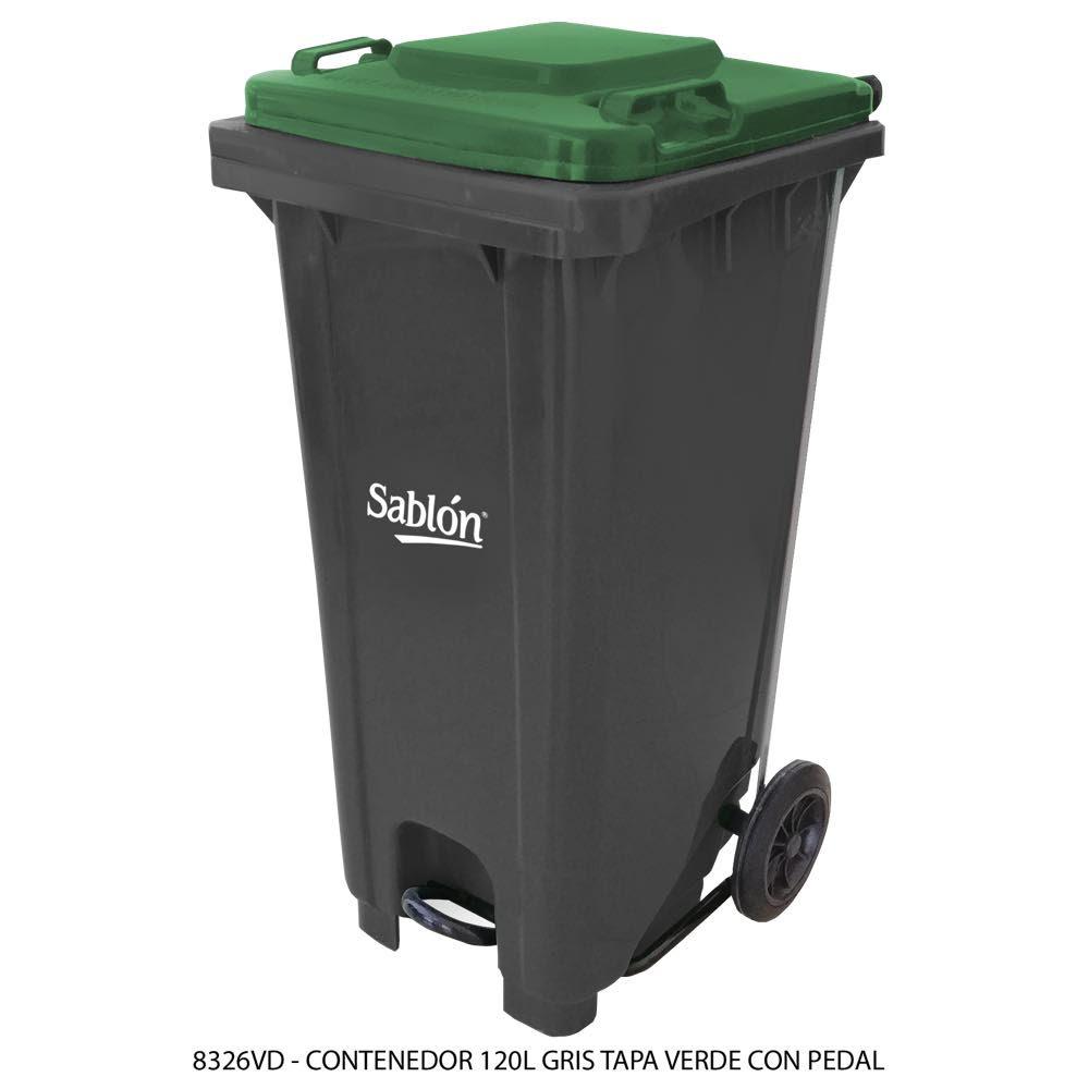 Contenedor de basura de 120 litros color gris con tapa de color verde y con pedal Modelo 8326VD - Marca Sablón
