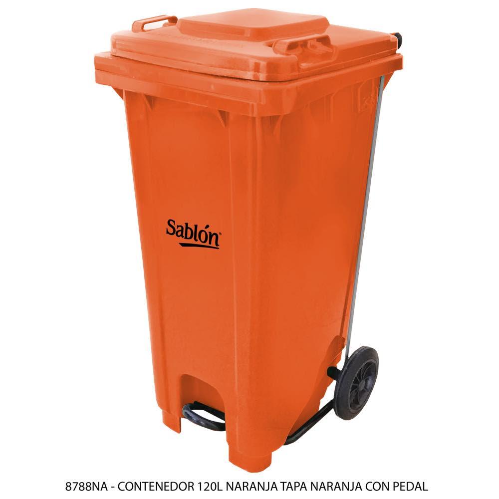 Contenedor de basura de 120 litros color naranja con tapa de color naranja y con pedal Modelo 8788NA - Marca Sablón