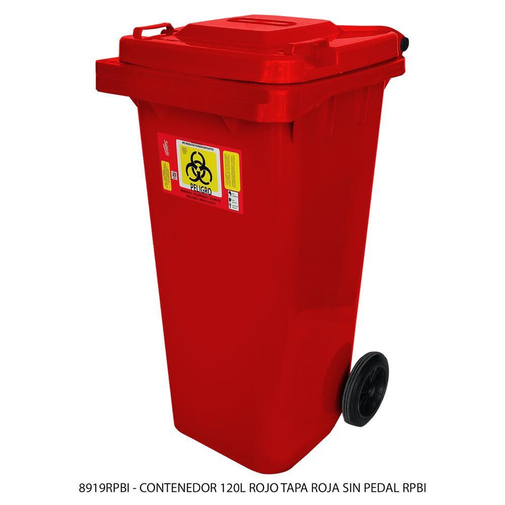 Contenedor de basura de 120 litros color rojo con tapa de color rojo con impreso RPBI sin pedal modelo 8919RPBI Marca Sablón