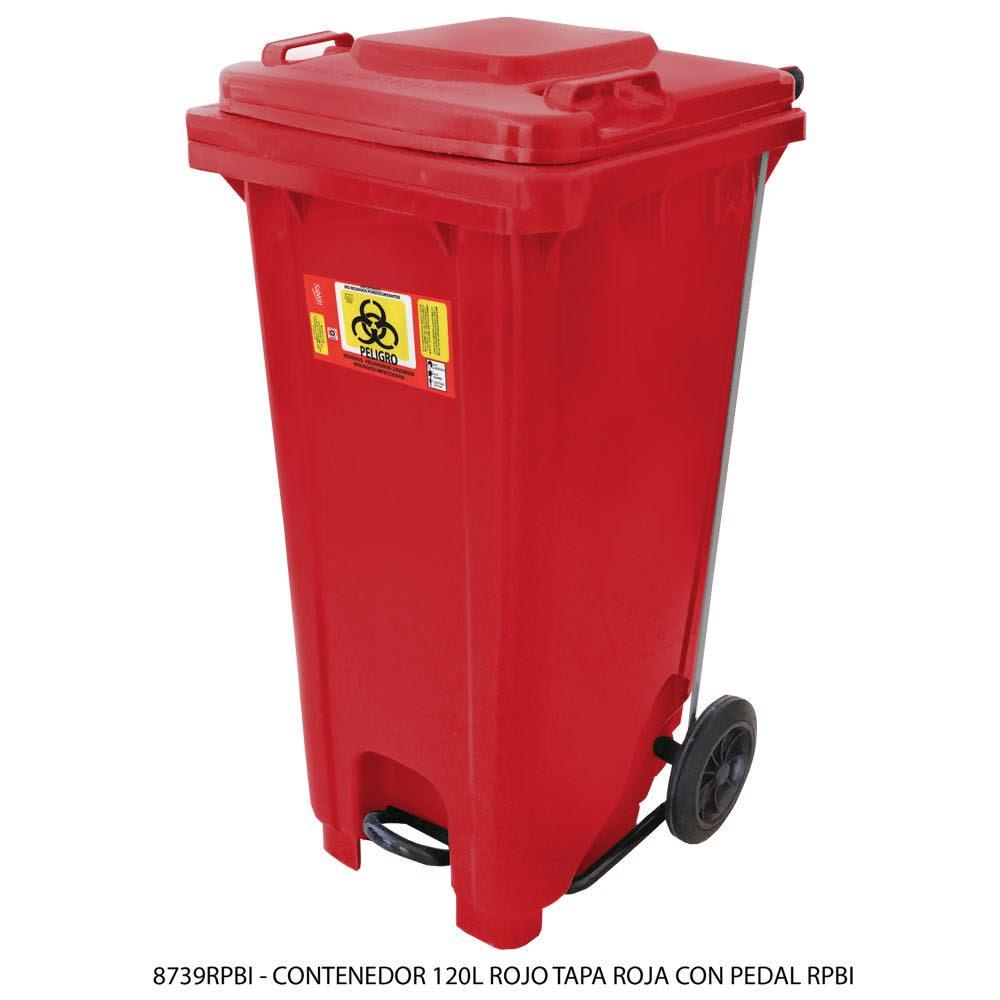 Contenedor de basura de 120 litros color rojo con tapa de color rojo con pedal y con impreso RPBI Modelo 8739RPBI - Marca Sablón