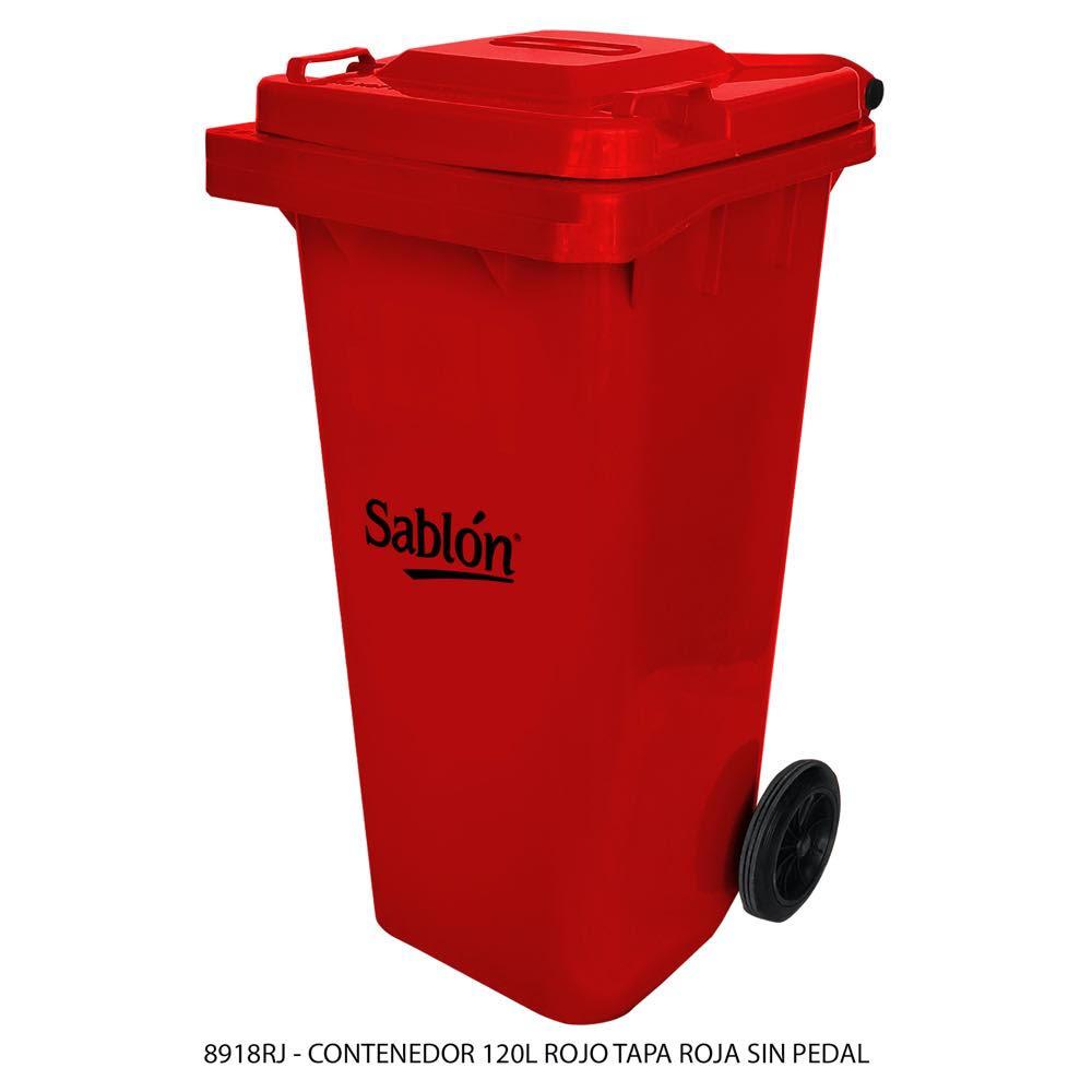 Contenedor de basura de 120 litros color rojo con tapa de color rojo sin pedal modelo 8918RJ Marca Sablón