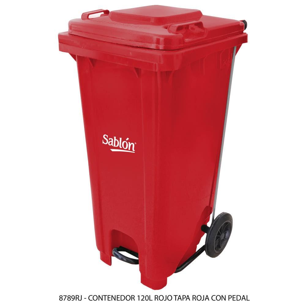 Contenedor de basura de 120 litros color rojo con tapa de color rojo y con pedal Modelo 8789RJ - Marca Sablón