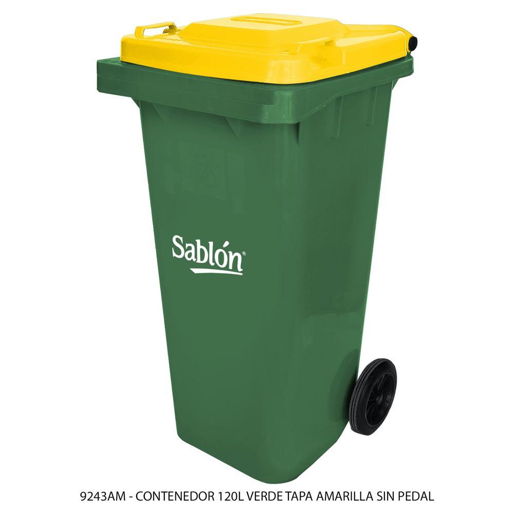 Contenedor de basura de 120 litros color verde con tapa de color amarillo sin pedal modelo 9243AM Marca Sablón