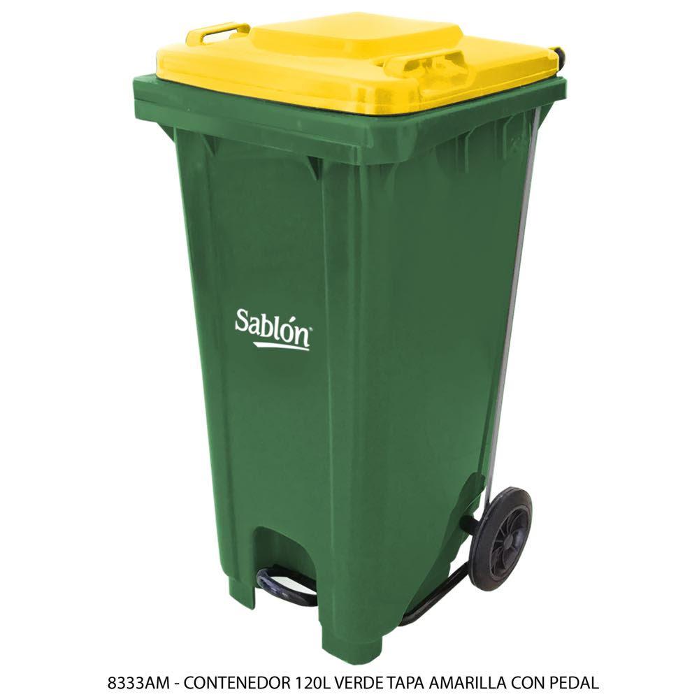 Contenedor de basura de 120 litros color verde con tapa de color amarillo y con pedal Modelo 8333AM - Marca Sablón