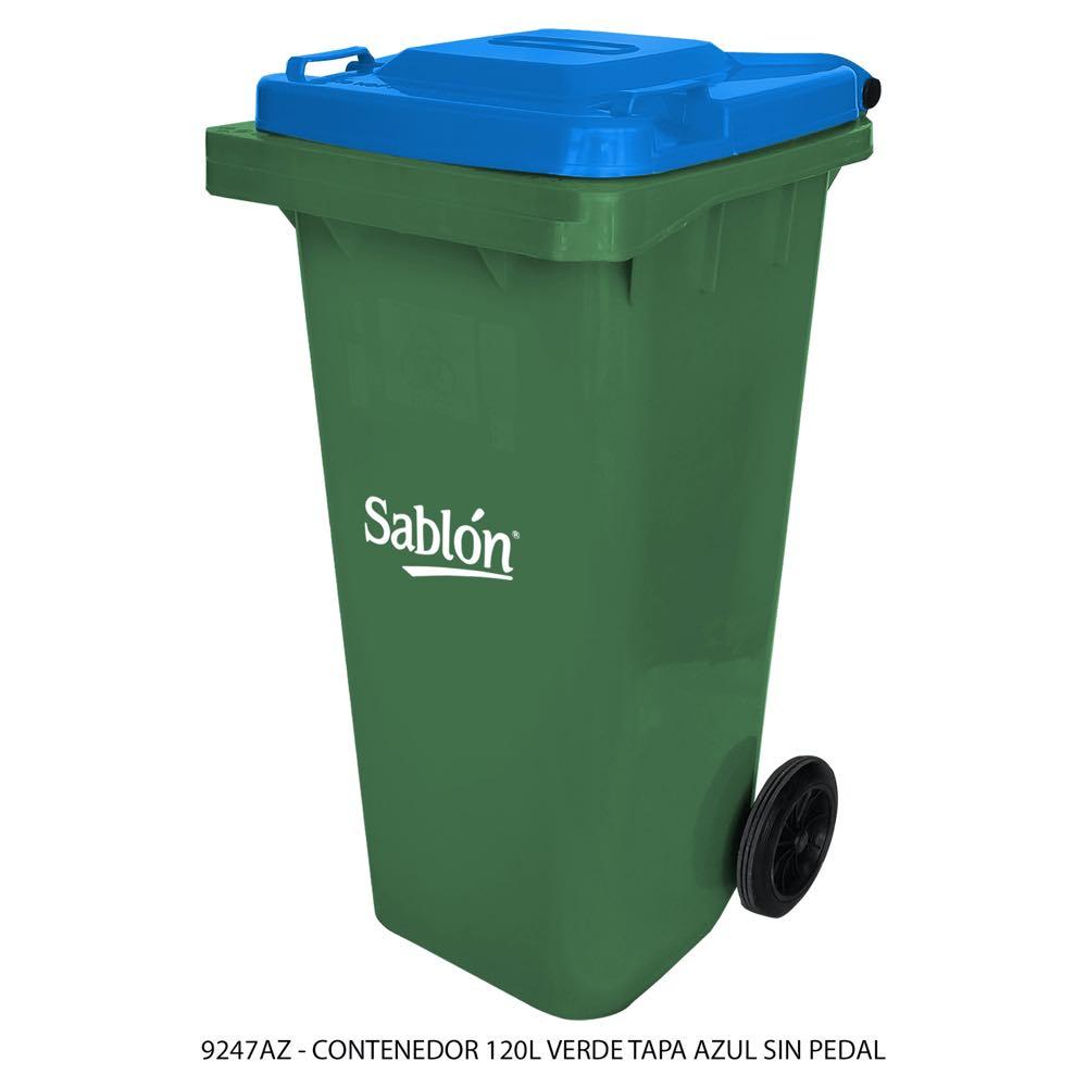 Contenedor de basura de 120 litros color verde con tapa de color azul sin pedal modelo 9247AZ Marca Sablón
