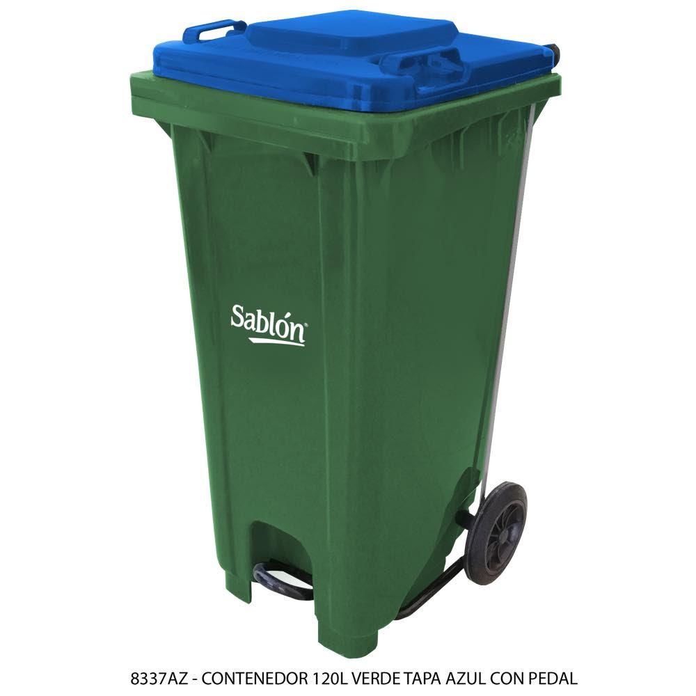 Contenedor de basura de 120 litros color verde con tapa de color azul y con pedal Modelo 8337AZ - Marca Sablón