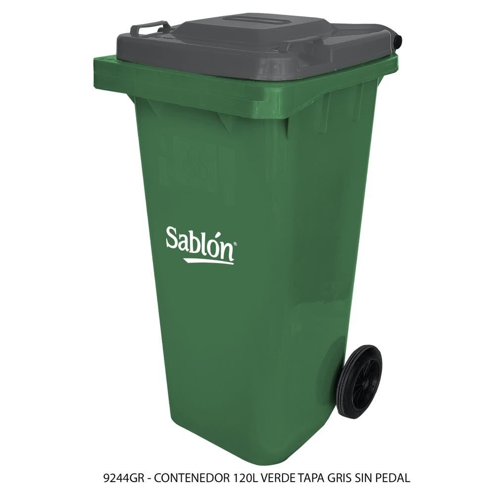 Contenedor de basura de 120 litros color verde con tapa de color gris sin pedal modelo 9244GR Marca Sablón