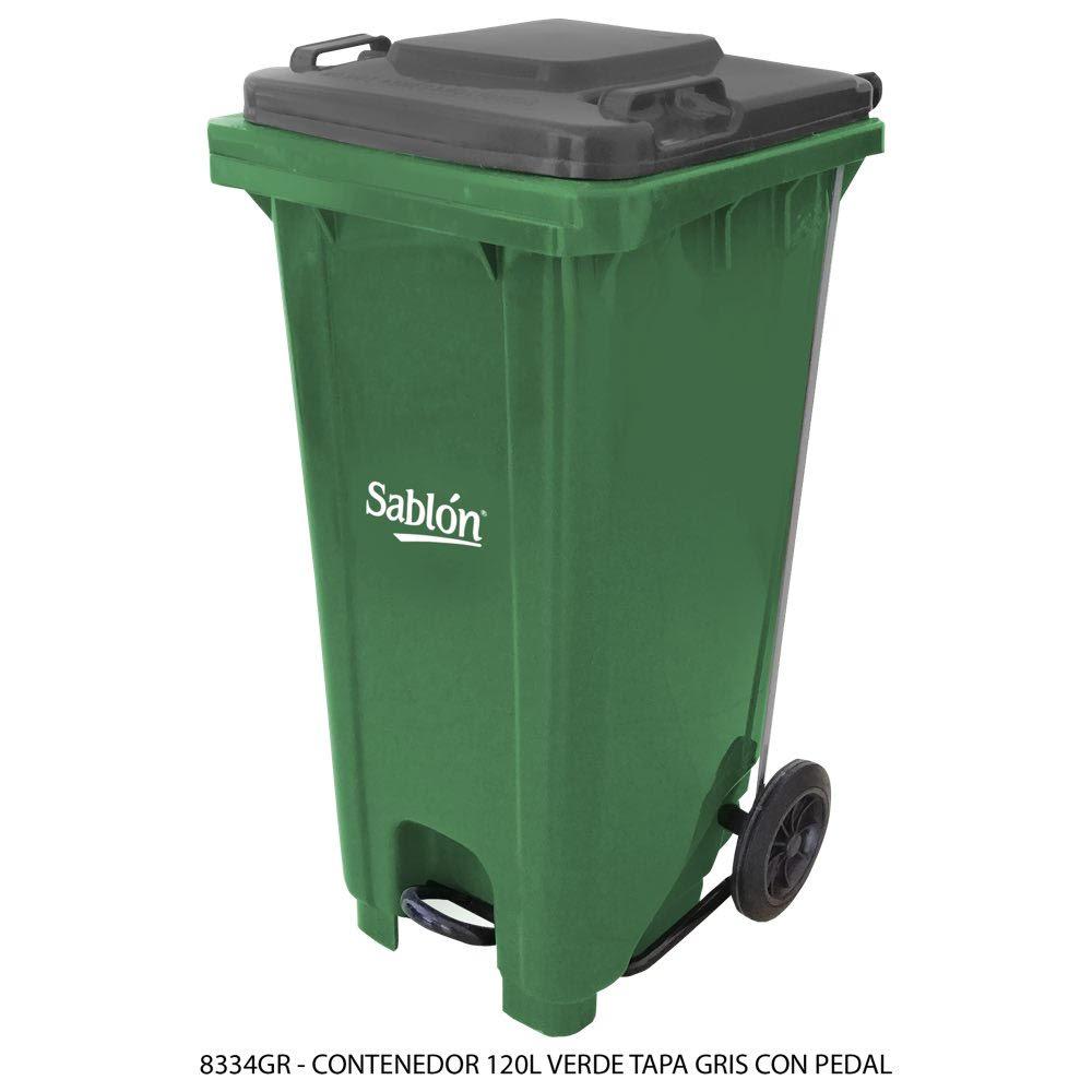 Contenedor de basura de 120 litros color verde con tapa de color gris y con pedal Modelo 8334GR - Marca Sablón