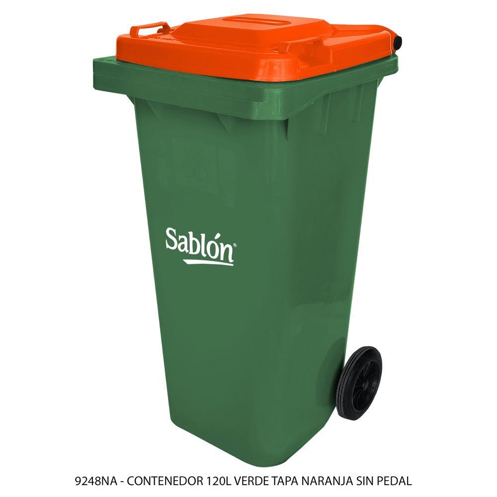 Contenedor de basura de 120 litros color verde con tapa de color naranja sin pedal modelo 9248NA Marca Sablón