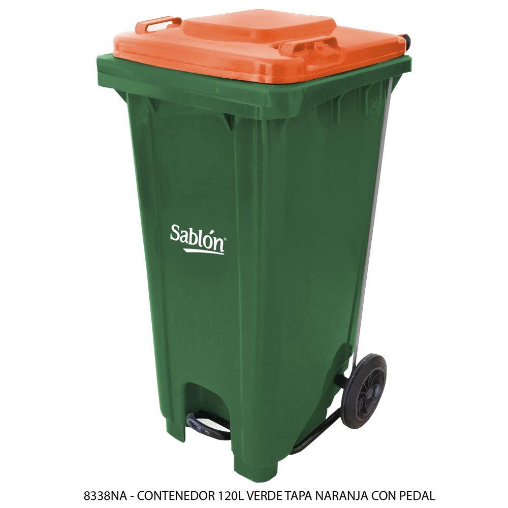Contenedor de basura de 120 litros color verde con tapa de color naranja y con pedal Modelo 8338NA - Marca Sablón