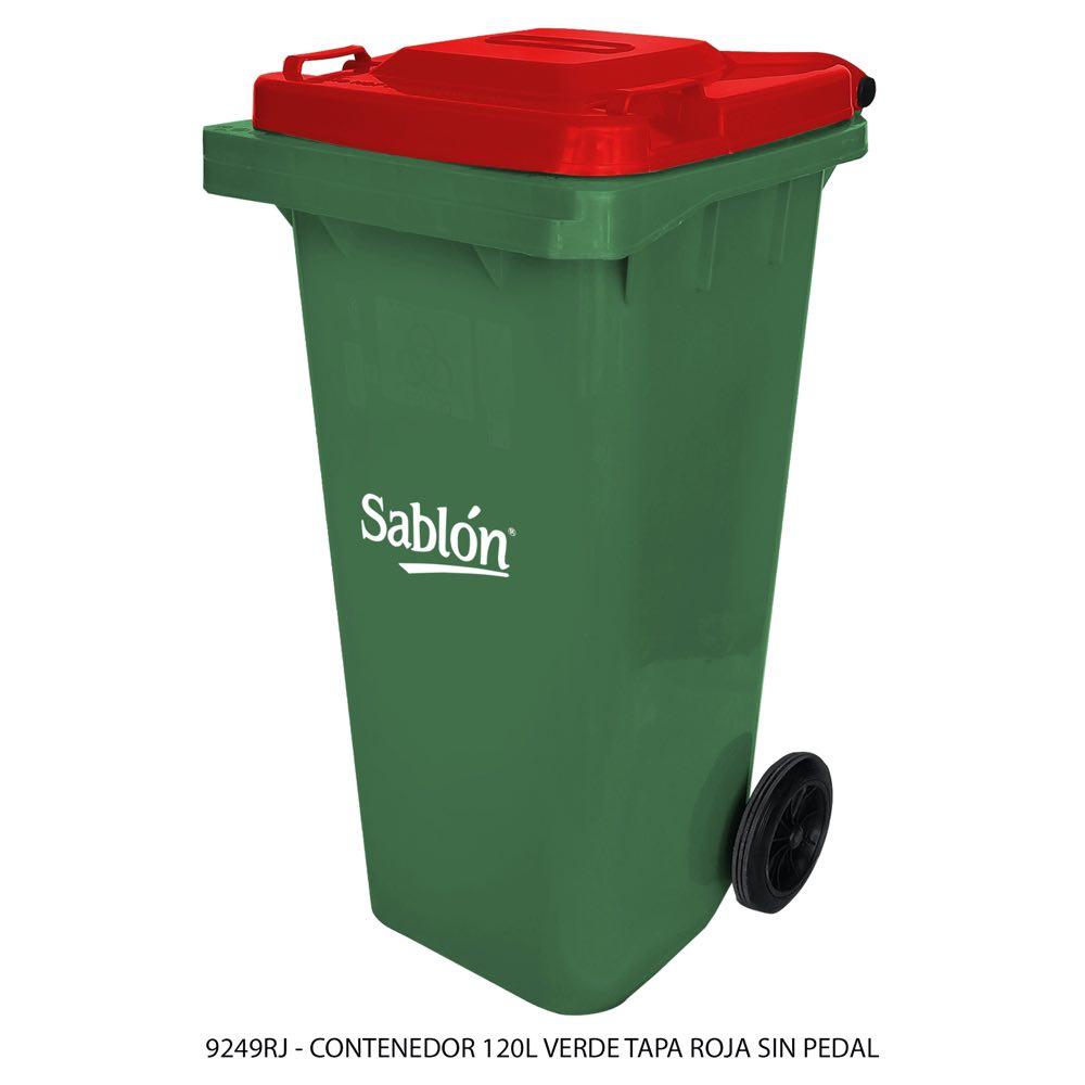 Contenedor de basura de 120 litros color verde con tapa de color rojo sin pedal modelo 9249RJ Marca Sablón