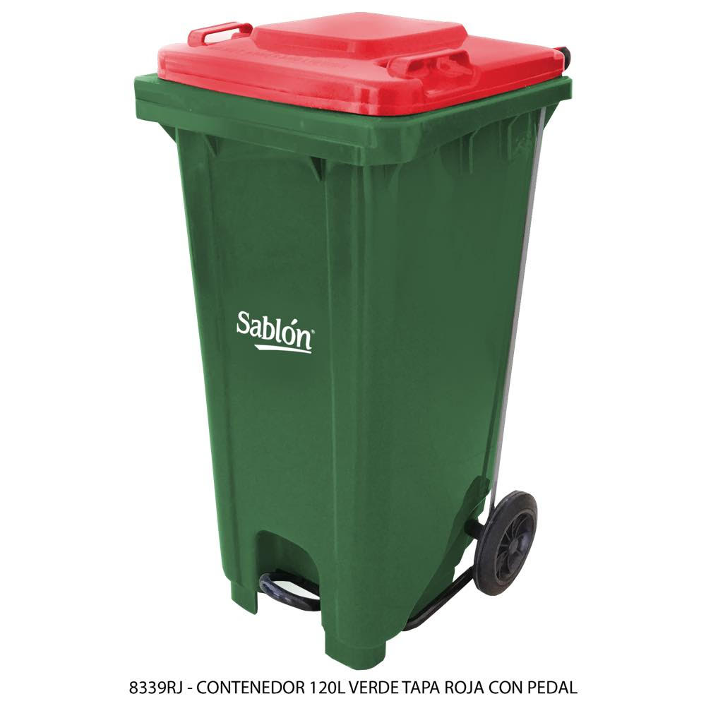 Contenedor de basura de 120 litros color verde con tapa de color rojo y con pedal Modelo 8339RJ - Marca Sablón