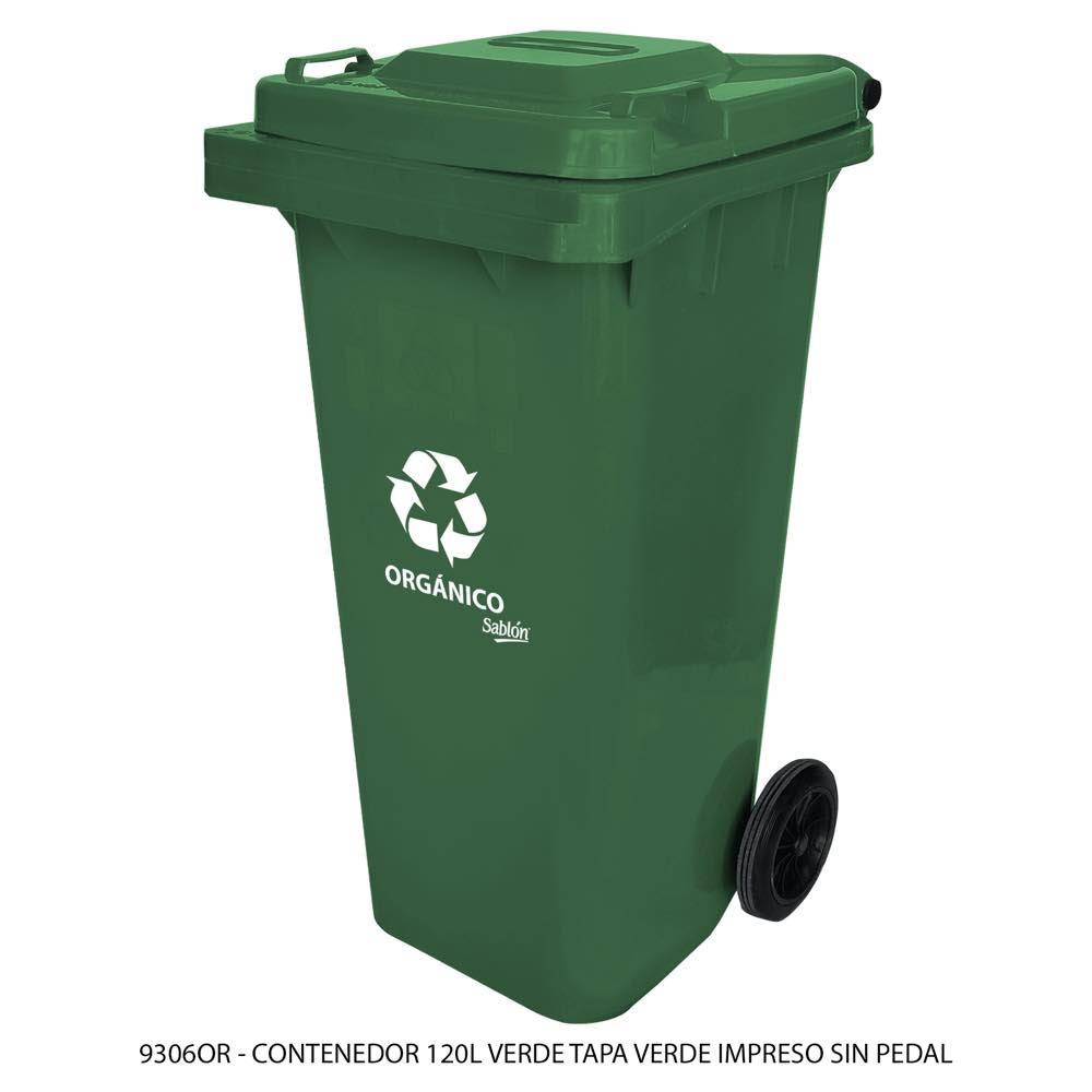 Contenedor de basura de 120 litros color verde con tapa de color verde con impreso orgánico sin pedal modelo 9306OR Marca Sablón
