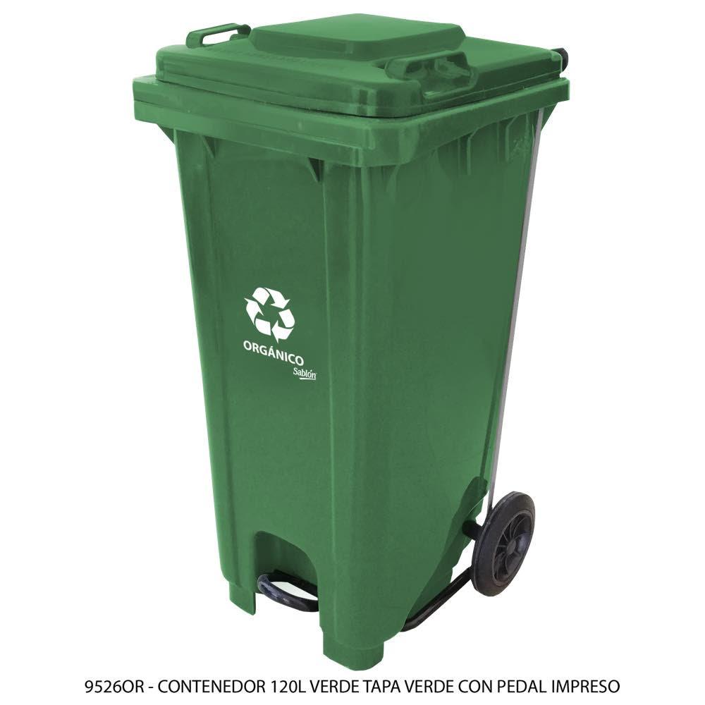 Contenedor de basura de 120 litros color verde con tapa de color verde con pedal y con impreso orgánico Modelo 9526OR - Marca Sablón