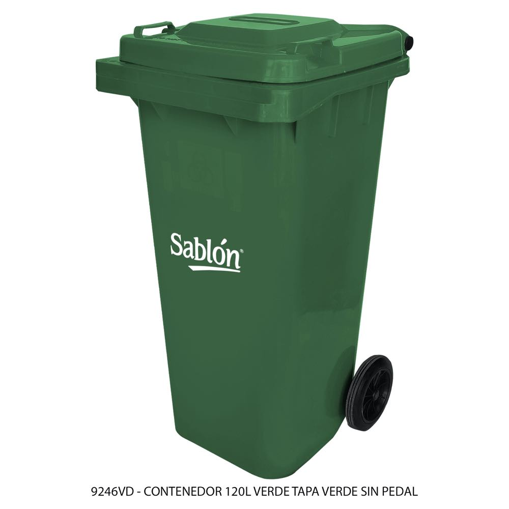 Contenedor de basura de 120 litros color verde con tapa de color verde sin pedal modelo 9246VD Marca Sablón
