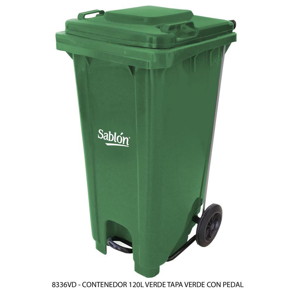 Contenedor de basura de 120 litros color verde con tapa de color verde y con pedal Modelo 8336VD - Marca Sablón